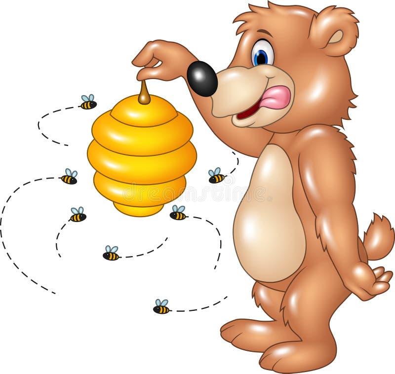 拿着蜂蜂房的动画片滑稽的熊 库存例证
