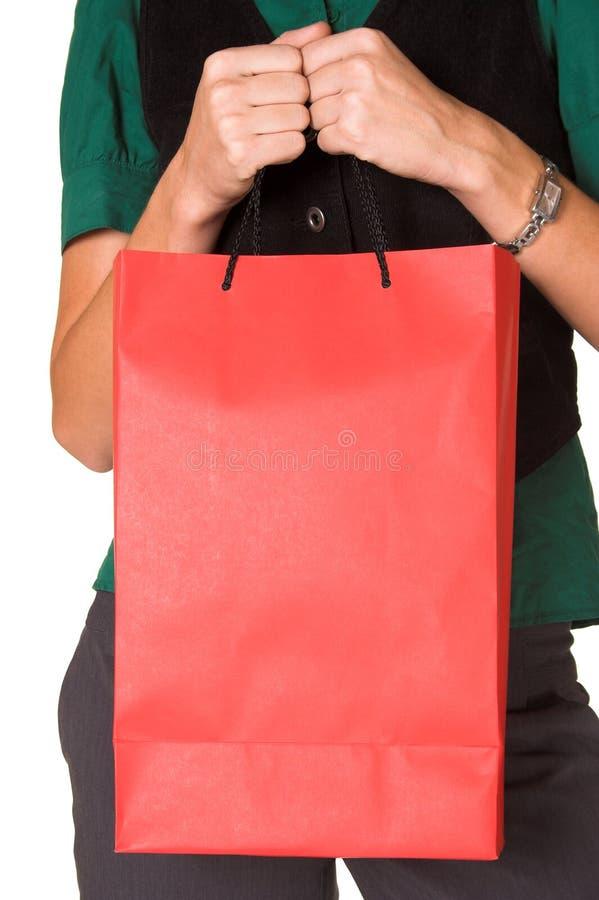 拿着袋子的查出的妇女 库存图片