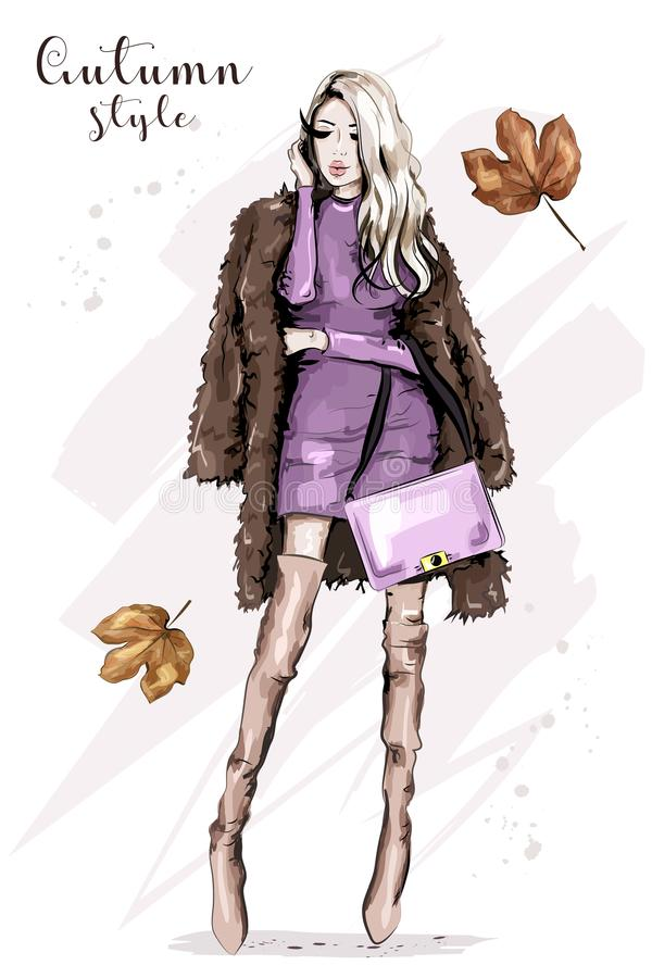 拿着袋子的毛皮夹克的时髦的少妇 皇族释放例证