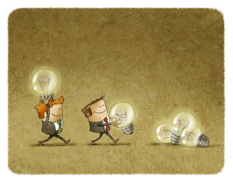 拿着被点燃的电灯泡的两个人 库存例证