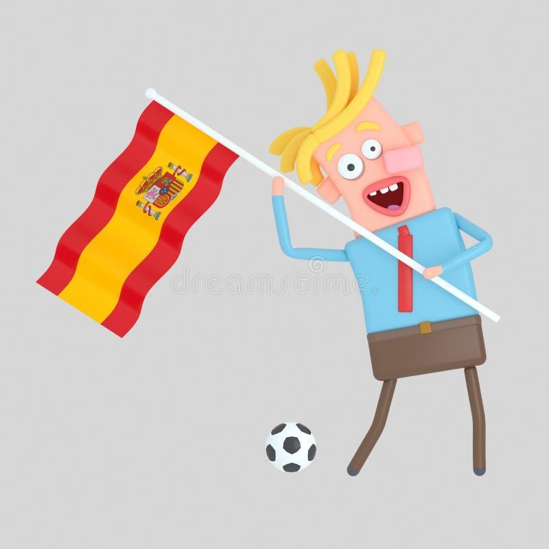拿着西班牙的旗子的人 3d例证 免版税库存图片
