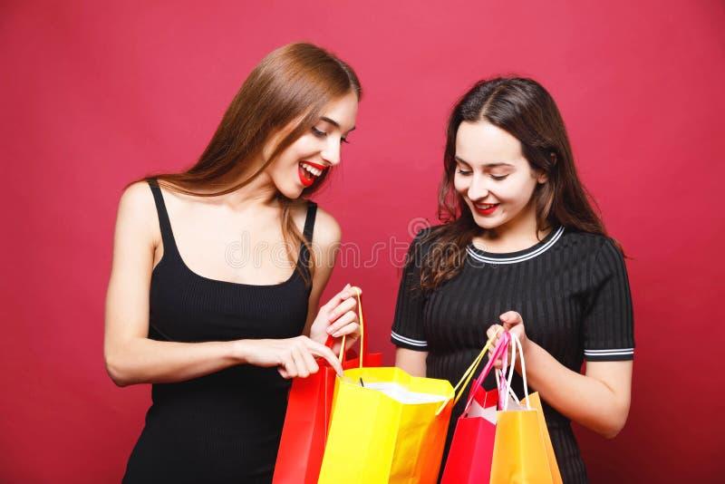 拿着许多购物袋的两个逗人喜爱的女朋友 免版税库存照片