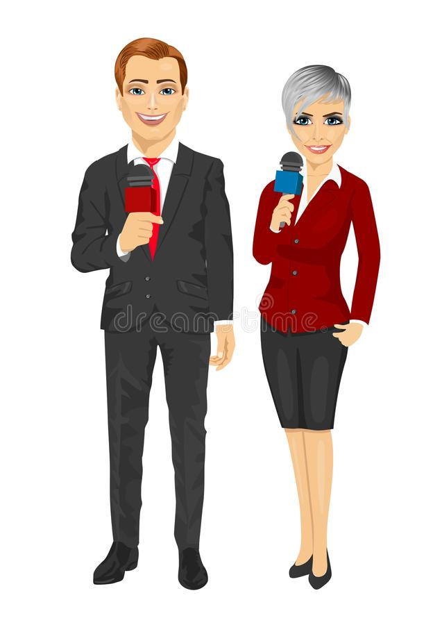 拿着话筒的新闻记者或新闻工作者 向量例证