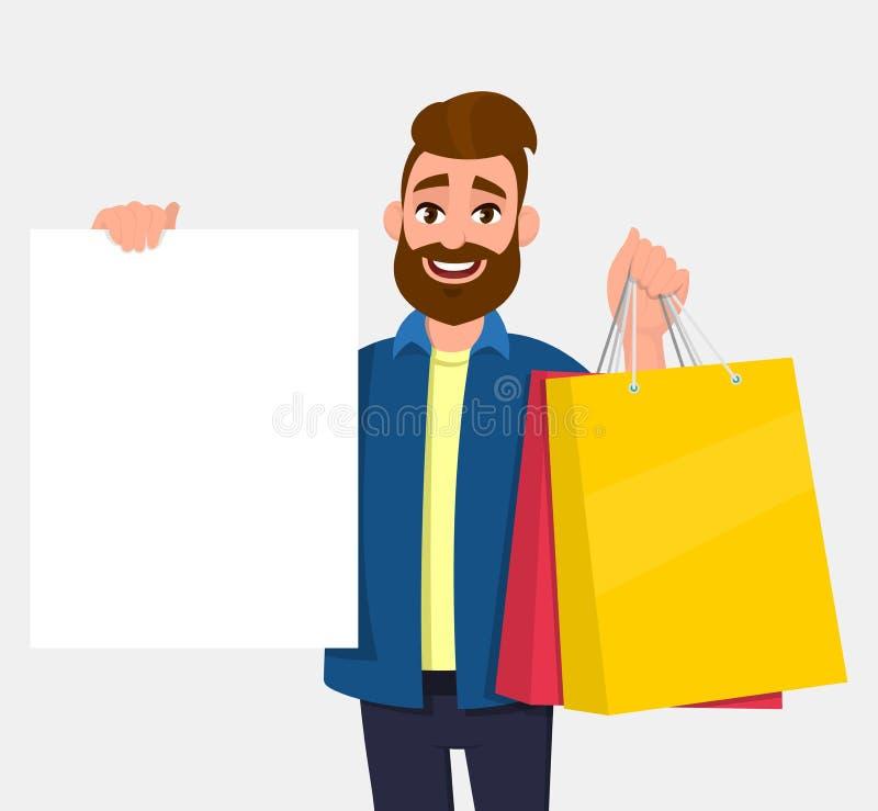 拿着购物带来的年轻人 在手中显示一张空白的白色海报,板,横幅的人 男性角色例证 库存例证