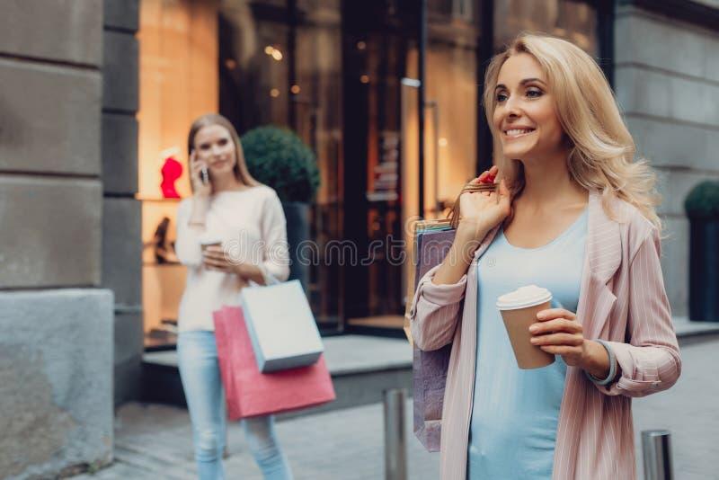 拿着购物带来的美丽的中年夫人,当站立在街道上时 免版税库存图片