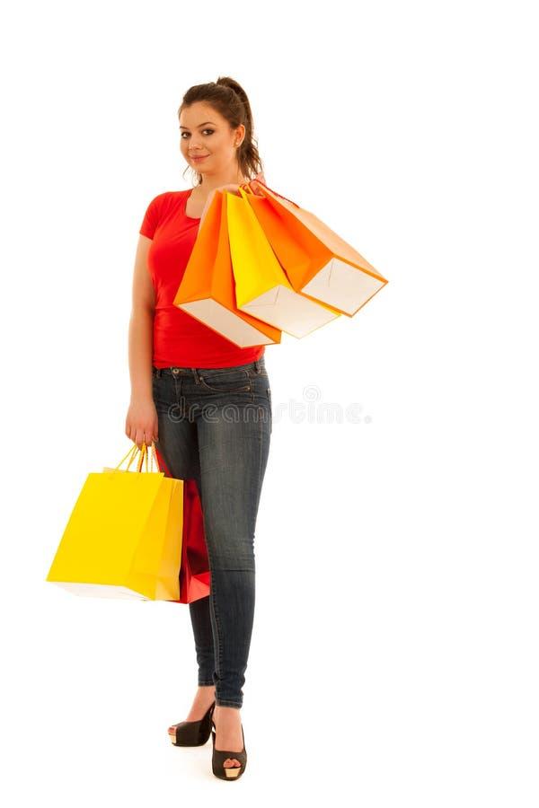拿着购物袋的妇女全长照片被隔绝在w 库存图片