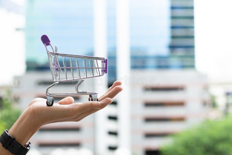 拿着购物车的现有量 商城,在网上和离线商店的,营销零售概念图象用途 库存照片