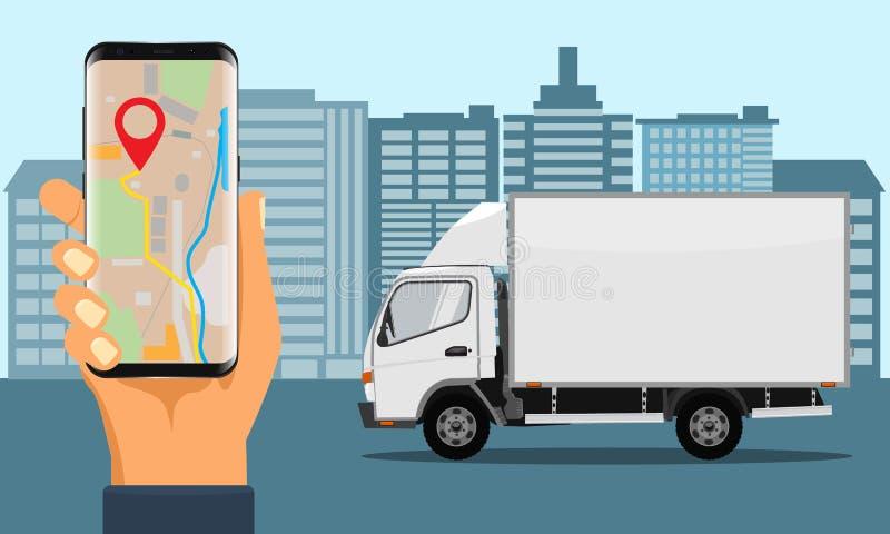 拿着跟踪的交付的手智能手机 城市地平线和卡车 向量例证