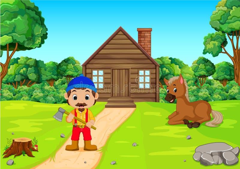 拿着轴的逗人喜爱的伐木工人住在森林并熟悉森林的人 皇族释放例证