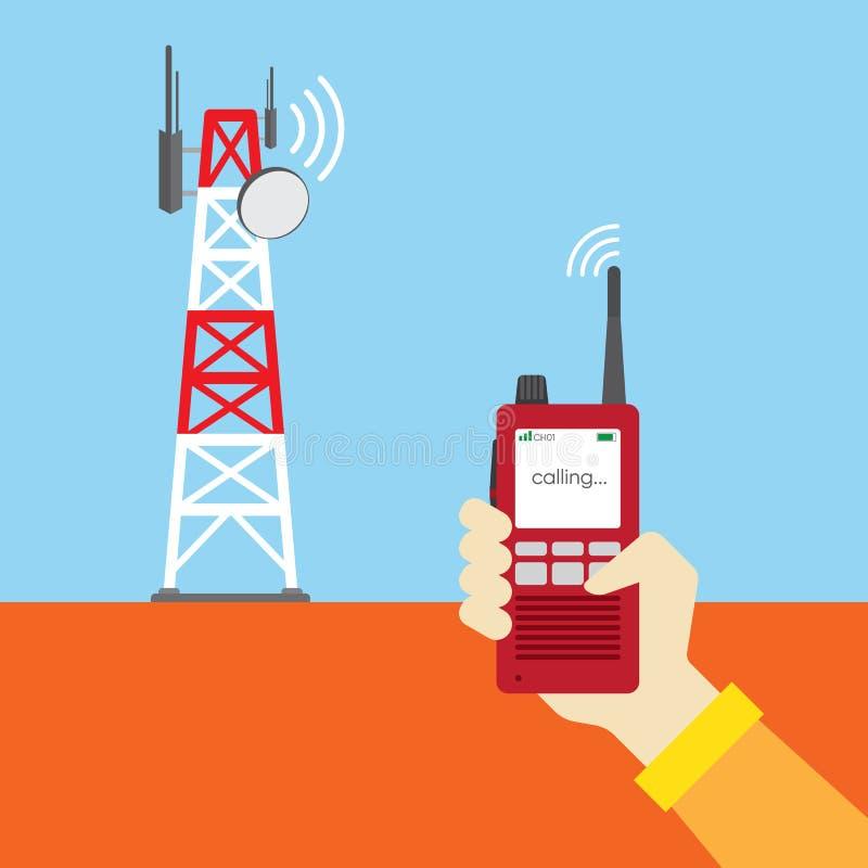 拿着通信的手walkies有声电影 皇族释放例证