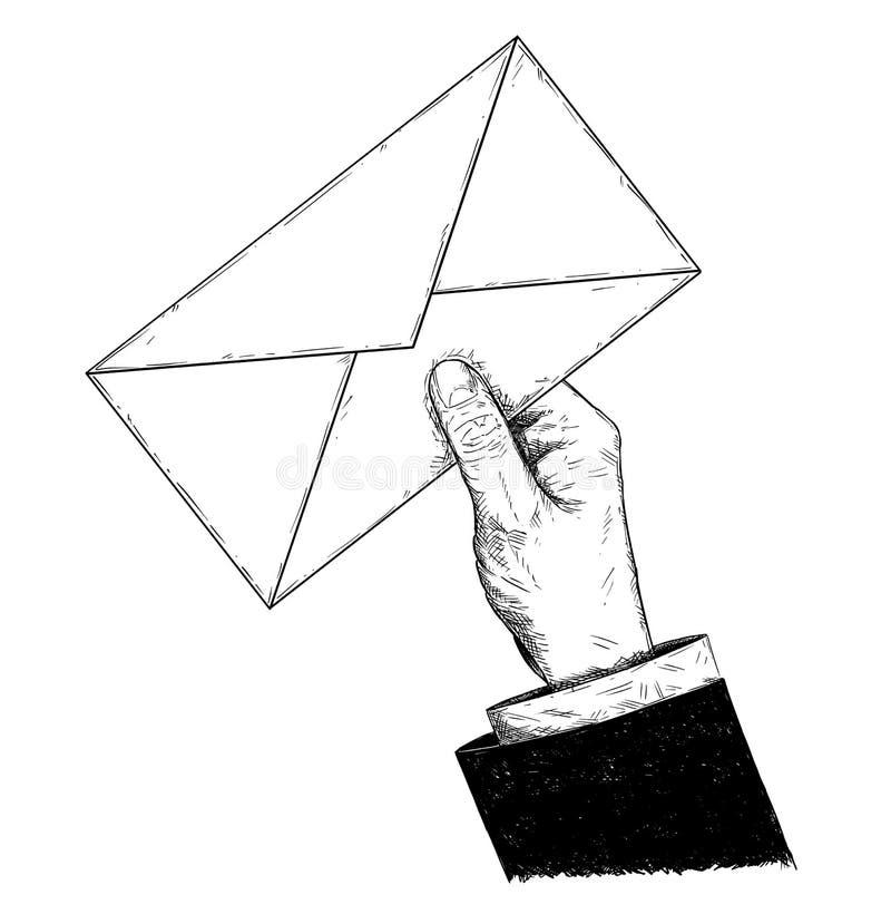 拿着邮件信件信封的传染媒介商人手艺术性的例证或图画 皇族释放例证
