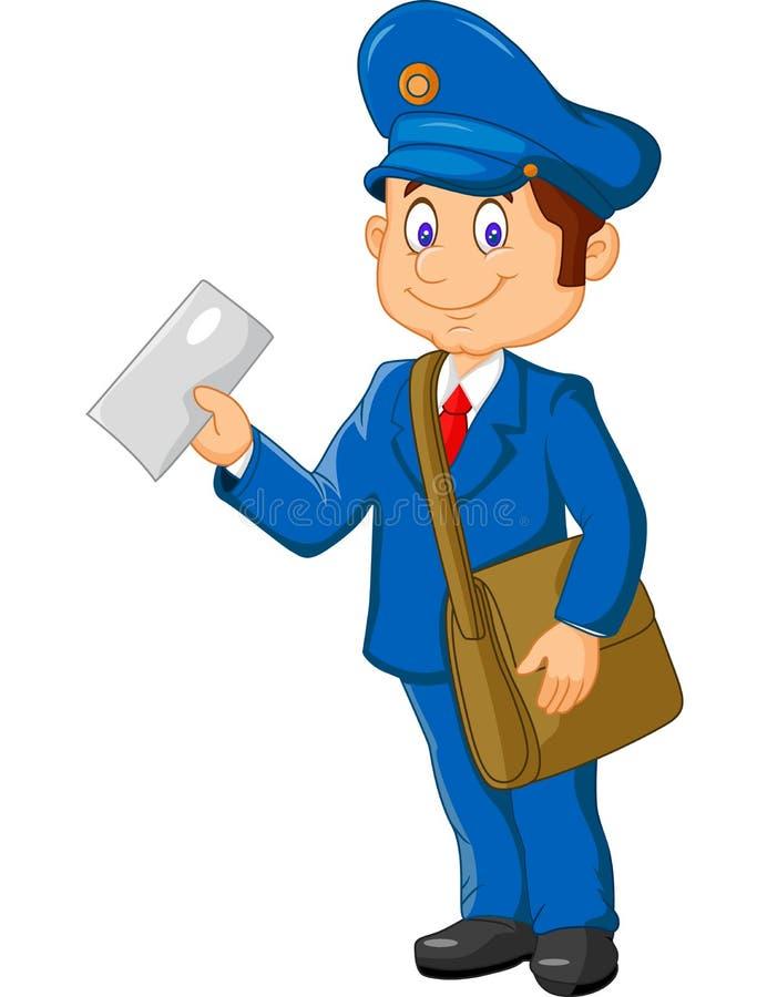 拿着邮件和袋子的动画片邮差 向量例证