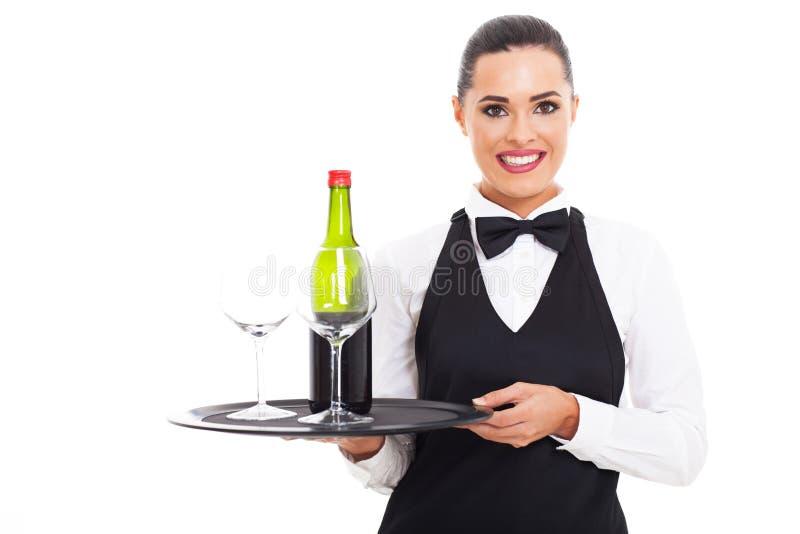 女服务员酒杯 图库摄影