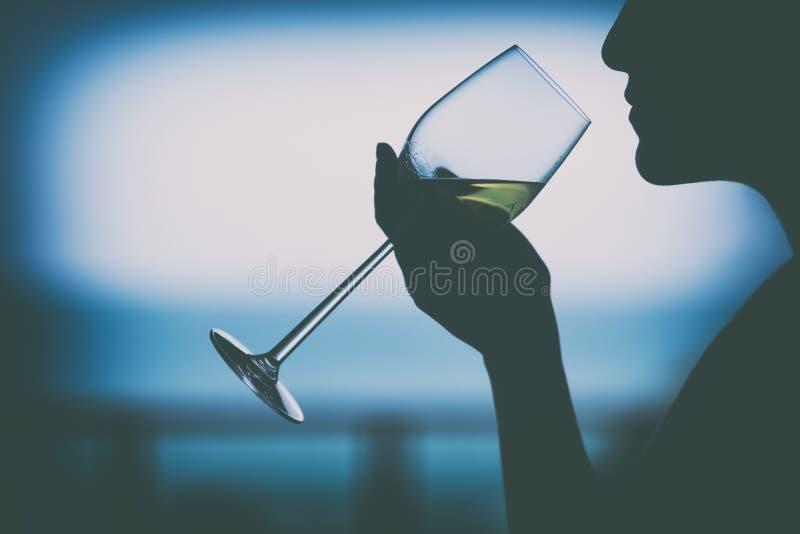拿着酒杯的妇女的剪影图象喝 库存图片