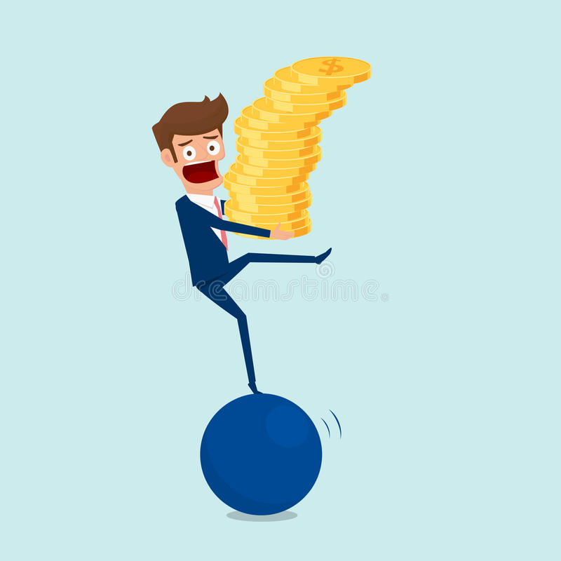 拿着金钱堆的商人站立在大球和尝试平衡在球 投资和风险概念 皇族释放例证