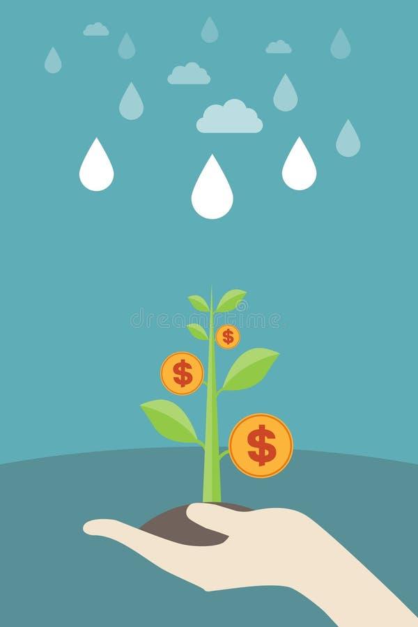拿着金钱树幼木,成长,金钱成长 向量例证