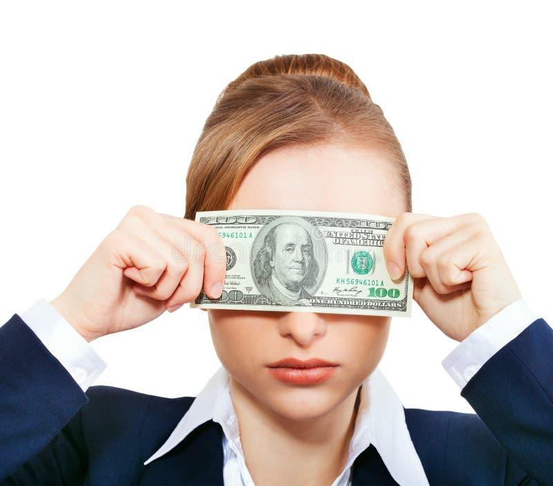 拿着金钱的妇女。金钱的概念 库存照片