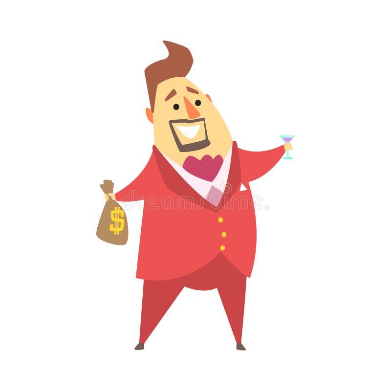 拿着金钱袋子和杯马蒂尼鸡尾酒,滑稽的漫画人物生活方式情况的百万富翁富人 皇族释放例证