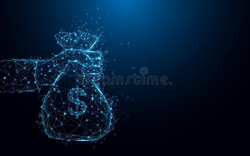 拿着金钱袋子形式线和三角,在蓝色背景的点连接的网络的抽象手 库存例证