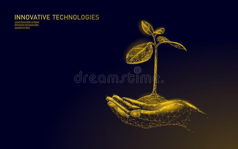 拿着金黄树新芽的低多手 财富繁荣攒钱增长的收入赢利 生长经济事务 向量例证