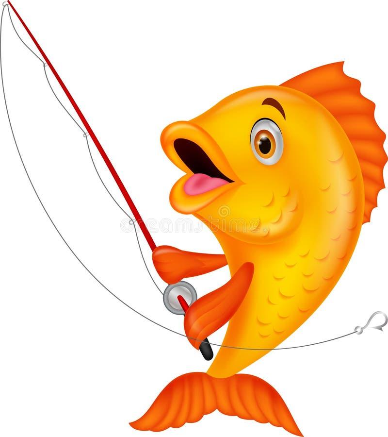 拿着钓鱼竿的逗人喜爱的鱼动画片 向量例证