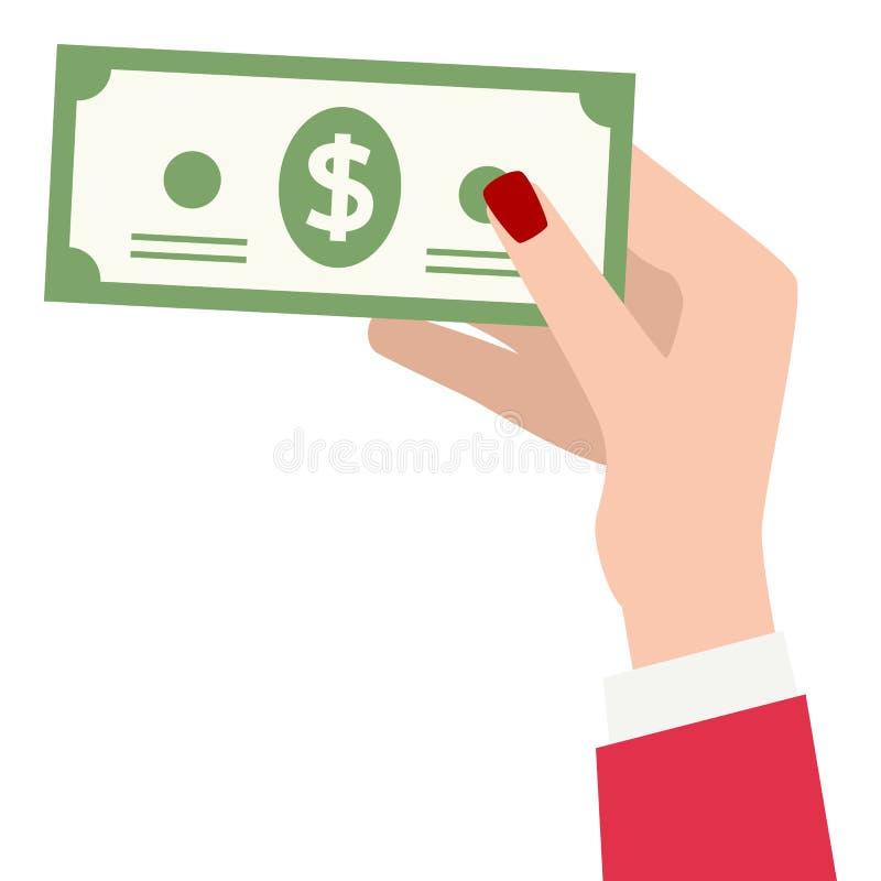 拿着钞票平的象的女性手 向量例证