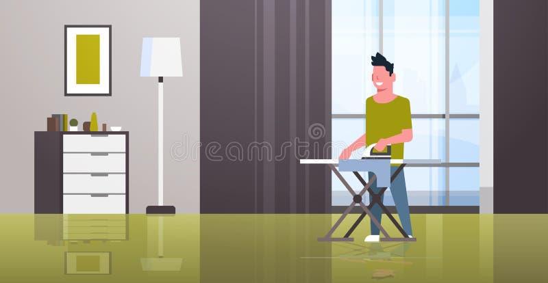 拿着铁的人电烙的衣裳人做家事家务概念现代房子客厅内部男性动画片 皇族释放例证