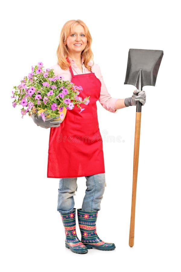 拿着铁锹和花的女性花匠 免版税库存照片