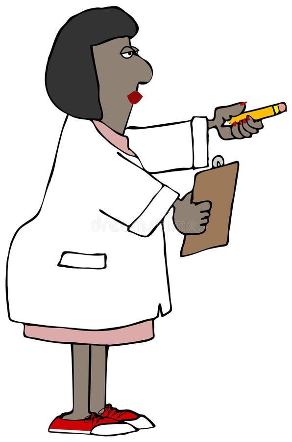 拿着铅笔和剪贴板的妇女研究员 向量例证