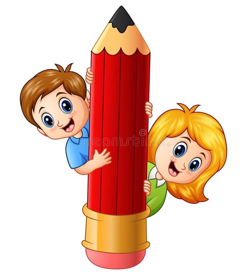 拿着铅笔的动画片孩子 向量例证