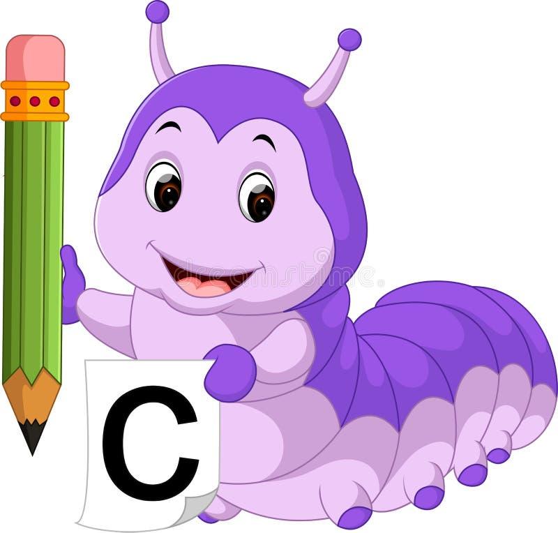 拿着铅笔的逗人喜爱的毛虫 向量例证