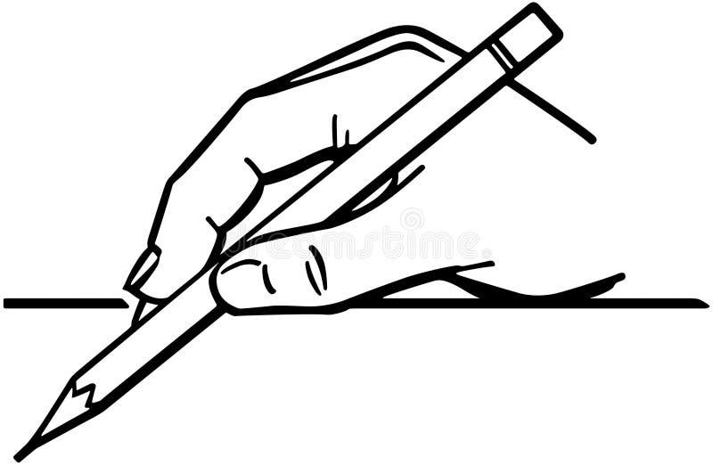 拿着铅笔2的手 库存例证