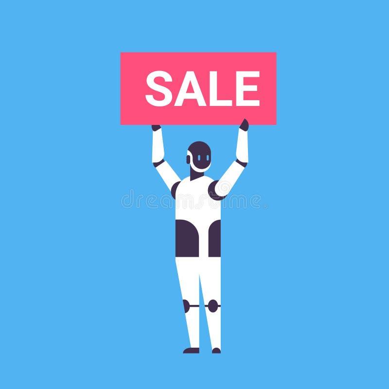 拿着销售折扣委员会马胃蝇蛆帮手购物季节概念人工智能蓝色背景的机器人平展充分 向量例证
