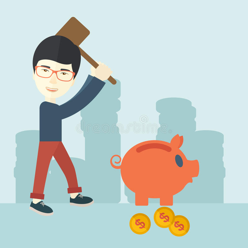 拿着锤子的中国人打破存钱罐 库存例证