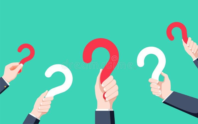 拿着问号,在平的设计样式,例证的常见问题解答的人的手 向量例证