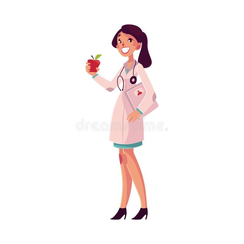 拿着额外标度和苹果的高兴,微笑的女性营养师 向量例证