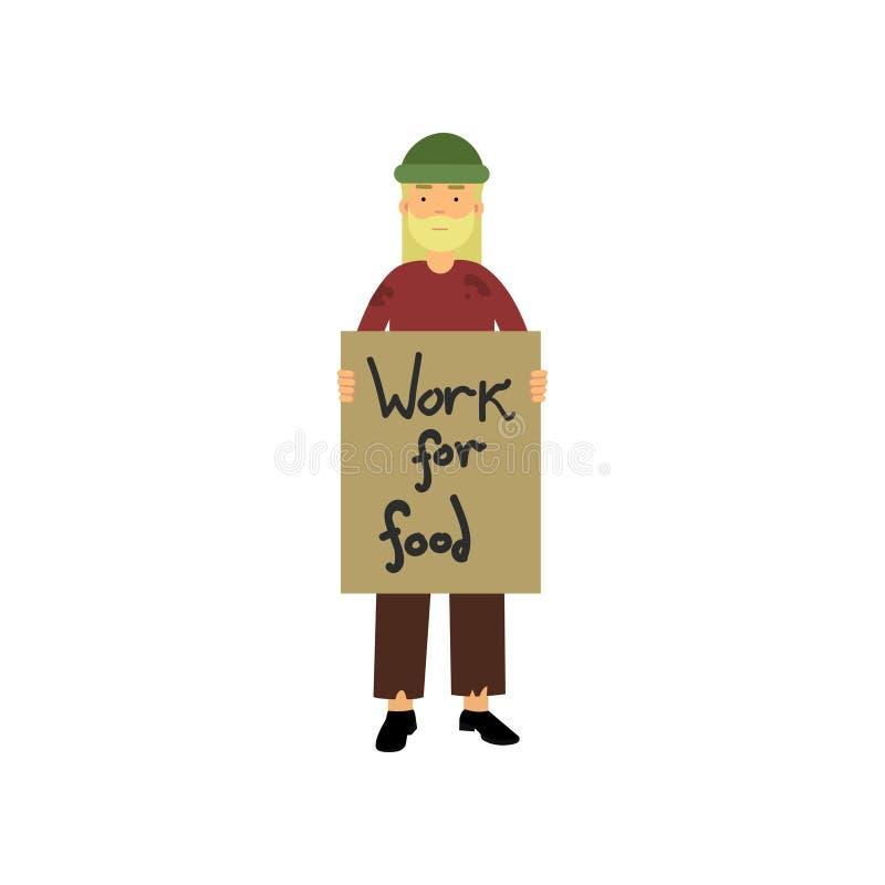 拿着食物动画片传染媒介例证的无家可归的人牌工作 向量例证