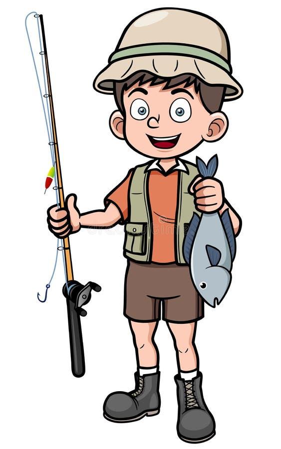 拿着鱼的渔夫 库存例证