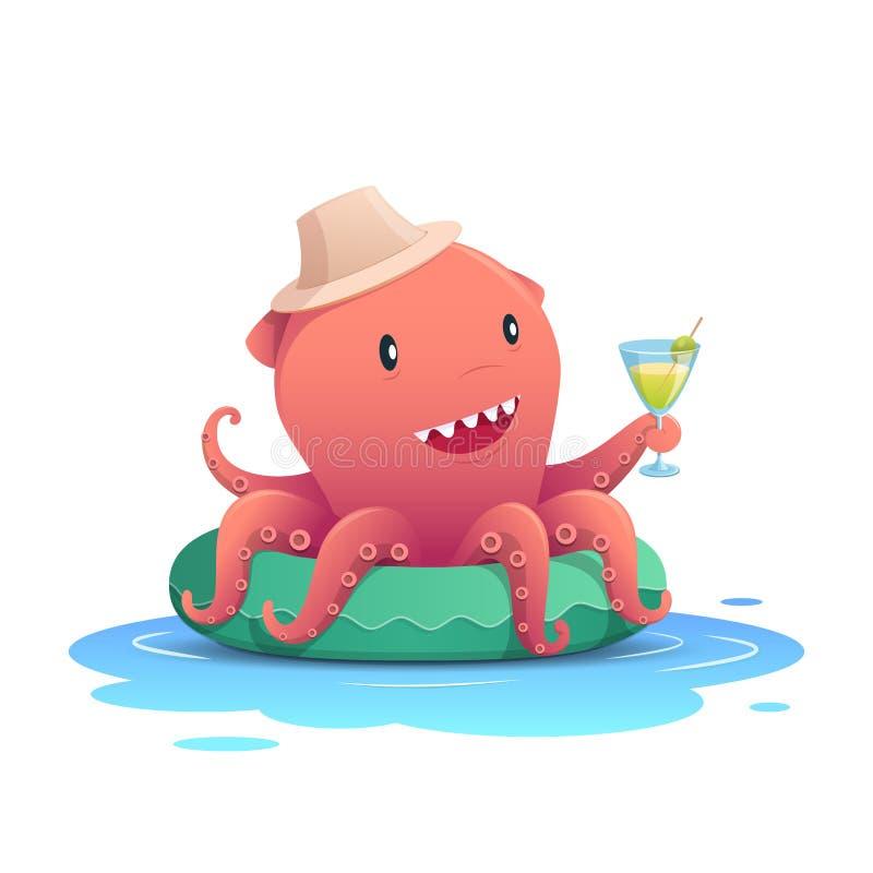 拿着鸡尾酒夏天饮料的逗人喜爱的红色章鱼玻璃在绿色可膨胀的游泳圆环,暑假概念 库存例证