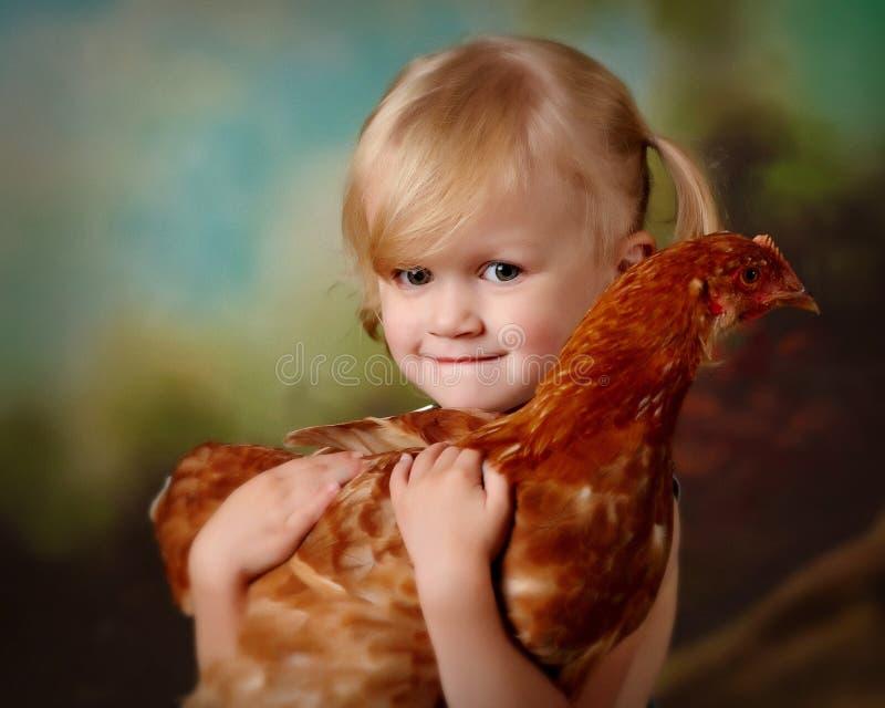 拿着鸡的小女孩 图库摄影