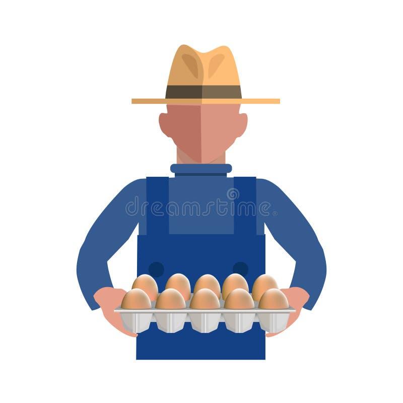 拿着鸡蛋的盘子农夫 皇族释放例证