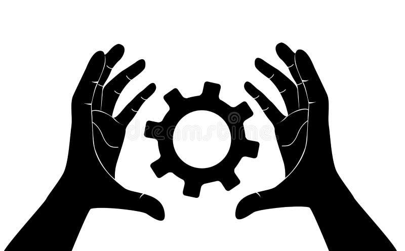 拿着齿轮,工程师标志传染媒介的手 向量例证
