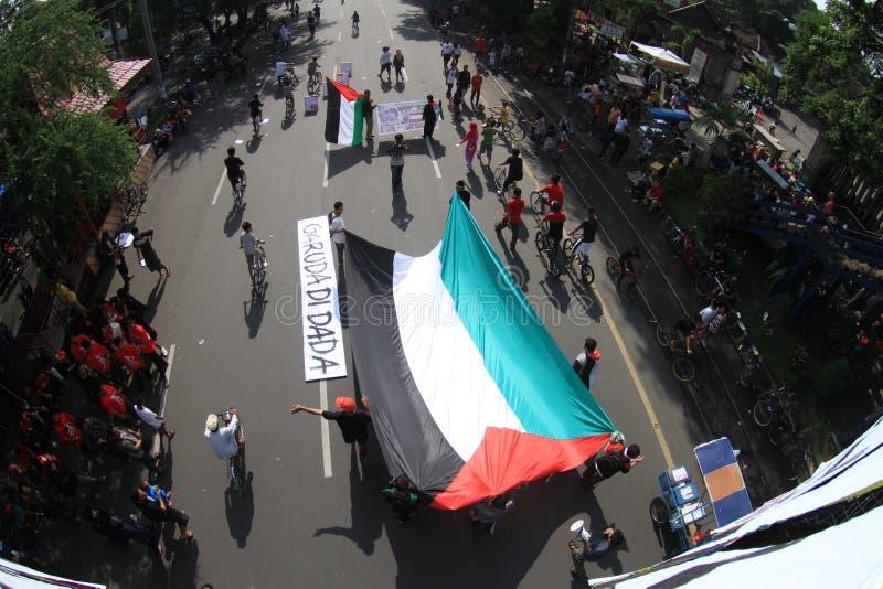 拿着巴勒斯坦巨人glag的抗议者 免版税库存图片