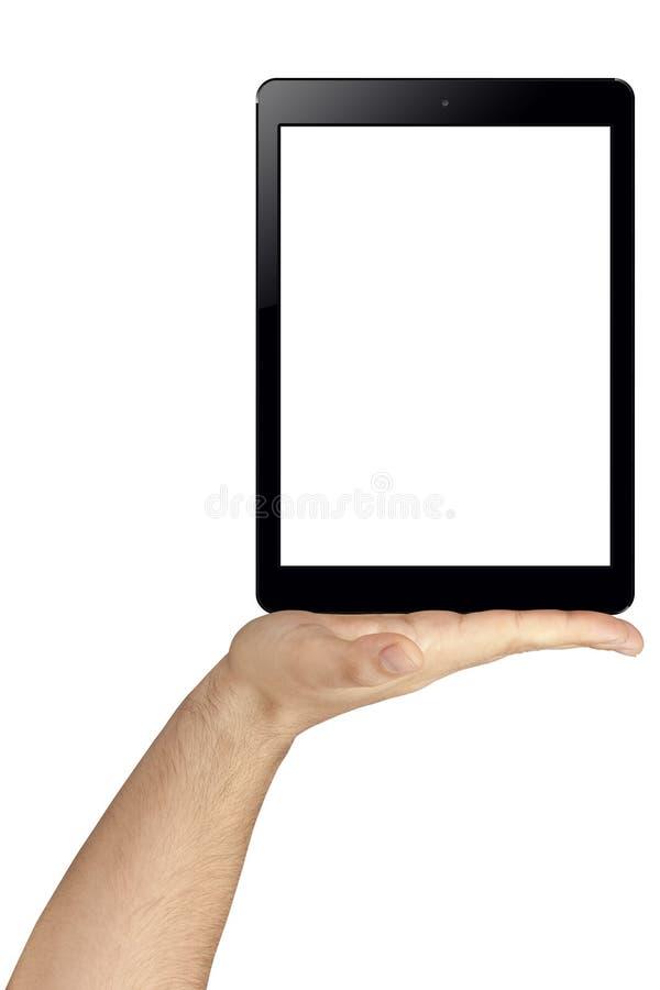 拿着黑屏片剂个人计算机的手被隔绝 库存照片
