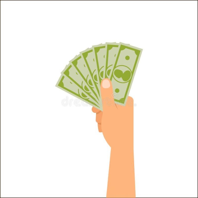 拿着货币的现有量 库存例证
