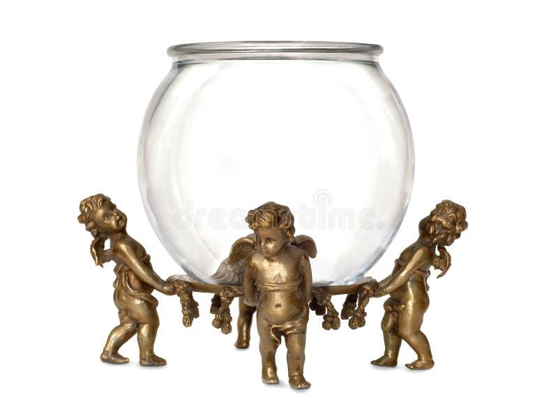 拿着玻璃鱼碗的天使 免版税库存照片