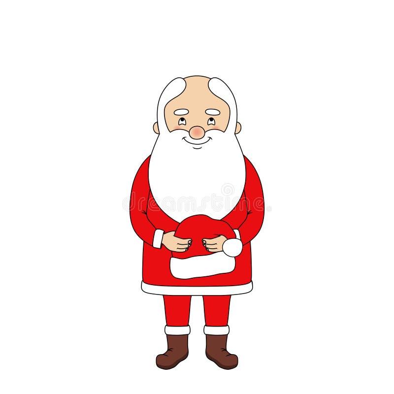 拿着他的帽子的圣诞老人 向量例证