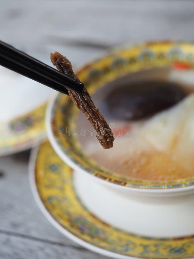 拿着黑筷子用Cordyceps中国草本有纯净汤迷离背景  免版税库存图片
