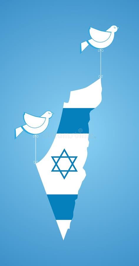 拿着以色列的地图的白色鸠 皇族释放例证