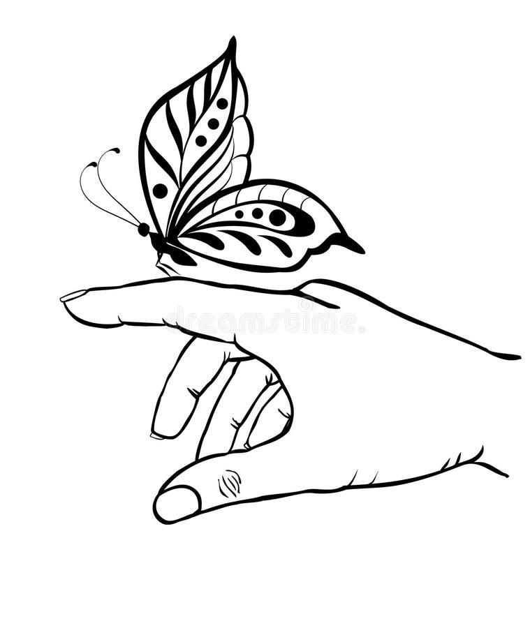 拿着蝴蝶的手 向量例证